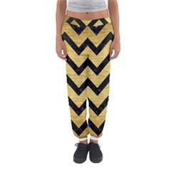 Chevron9 Black Marble & Gold Brushed Metal (r) Women s Jogger Sweatpants