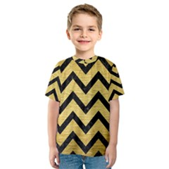 Chevron9 Black Marble & Gold Brushed Metal (r) Kids  Sport Mesh Tee
