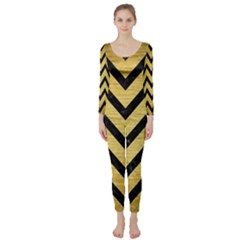 Chevron9 Black Marble & Gold Brushed Metal (r) Long Sleeve Catsuit