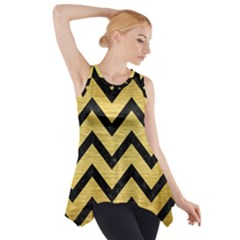 Chevron9 Black Marble & Gold Brushed Metal (r) Side Drop Tank Tunic
