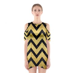 Chevron9 Black Marble & Gold Brushed Metal (r) Shoulder Cutout One Piece