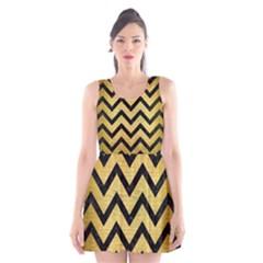CHV9 BK MARBLE GOLD (R) Scoop Neck Skater Dress