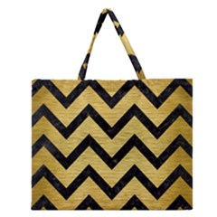 CHV9 BK MARBLE GOLD (R) Zipper Large Tote Bag