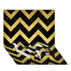 Chevron9 Black Marble & Gold Brushed Metal Love Bottom 3d Greeting Card (7x5)