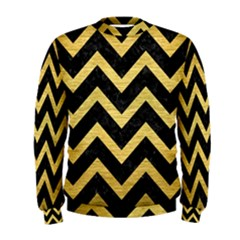 Chevron9 Black Marble & Gold Brushed Metal Men s Sweatshirt