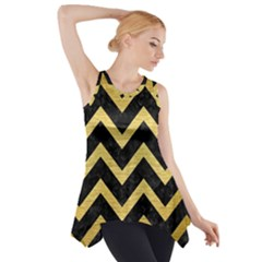 CHV9 BK MARBLE GOLD Side Drop Tank Tunic