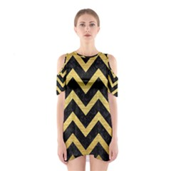 Chevron9 Black Marble & Gold Brushed Metal Shoulder Cutout One Piece