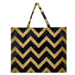 CHV9 BK MARBLE GOLD Zipper Large Tote Bag