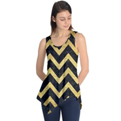 Chevron9 Black Marble & Gold Brushed Metal Sleeveless Tunic