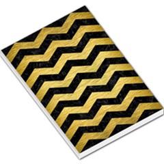 Chevron3 Black Marble & Gold Brushed Metal Large Memo Pads