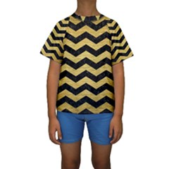 CHV3 BK MARBLE GOLD Kid s Short Sleeve Swimwear