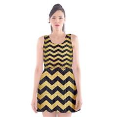 CHV3 BK MARBLE GOLD Scoop Neck Skater Dress