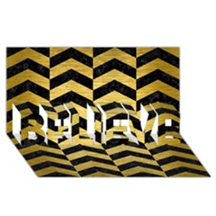 Chevron2 Black Marble & Gold Brushed Metal Believe 3d Greeting Card (8x4)