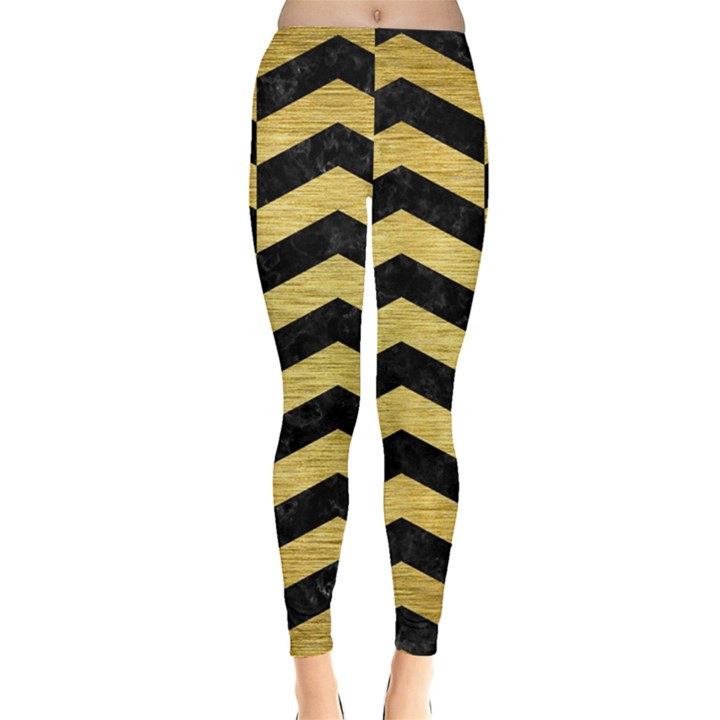 CHEVRON2 BLACK MARBLE & GOLD BRUSHED METAL Leggings