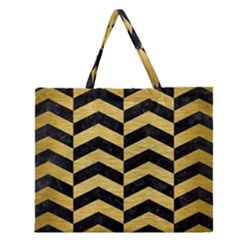 CHV2 BK MARBLE GOLD Zipper Large Tote Bag