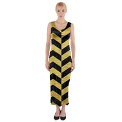 CHV2 BK MARBLE GOLD Fitted Maxi Dress