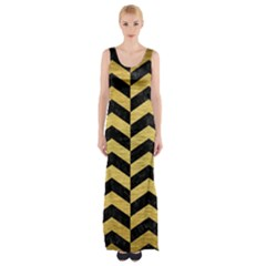 Chv2 Bk Marble Gold Maxi Thigh Split Dress