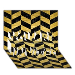 Chevron1 Black Marble & Gold Brushed Metal You Are Invited 3d Greeting Card (7x5)