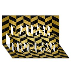 Chevron1 Black Marble & Gold Brushed Metal Laugh Live Love 3d Greeting Card (8x4)