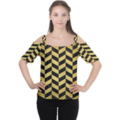 Chevron1 Black Marble & Gold Brushed Metal Cutout Shoulder Tee