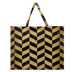 CHV1 BK MARBLE GOLD Zipper Large Tote Bag