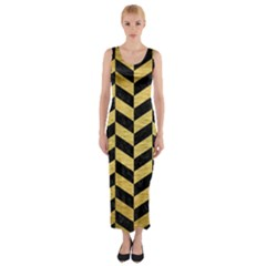 Chevron1 Black Marble & Gold Brushed Metal Fitted Maxi Dress