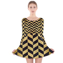 CHV1 BK MARBLE GOLD Long Sleeve Velvet Skater Dress