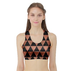 Triangle3 Black Marble & Copper Brushed Metal Sports Bra With Border
