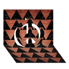 Triangle2 Black Marble & Copper Brushed Metal Peace Sign 3d Greeting Card (7x5)