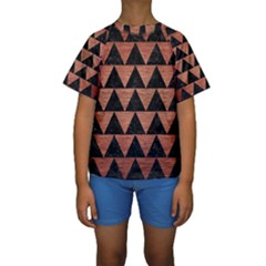 Triangle2 Black Marble & Copper Brushed Metal Kids  Short Sleeve Swimwear