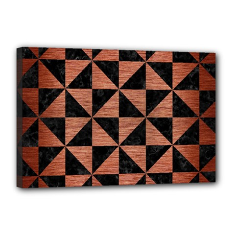 Triangle1 Black Marble & Copper Brushed Metal Canvas 18  X 12  (stretched)