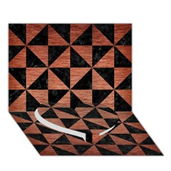 Triangle1 Black Marble & Copper Brushed Metal Heart Bottom 3d Greeting Card (7x5)
