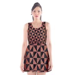 Triangle1 Black Marble & Copper Brushed Metal Scoop Neck Skater Dress