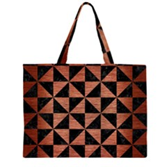 TRI1 BK MARBLE COPPER Large Tote Bag