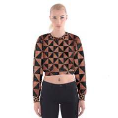 TRI1 BK MARBLE COPPER Women s Cropped Sweatshirt