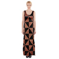Triangle1 Black Marble & Copper Brushed Metal Maxi Thigh Split Dress