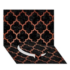 Tile1 Black Marble & Copper Brushed Metal Circle Bottom 3d Greeting Card (7x5)