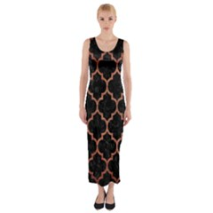 TIL1 BK MARBLE COPPER Fitted Maxi Dress