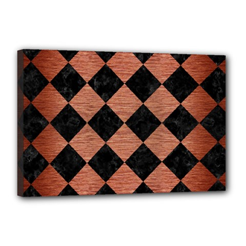 Square2 Black Marble & Copper Brushed Metal Canvas 18  X 12  (stretched)