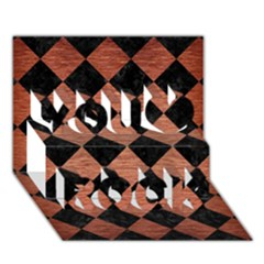 Square2 Black Marble & Copper Brushed Metal You Rock 3d Greeting Card (7x5)