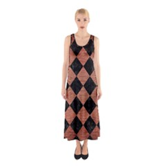 SQR2 BK MARBLE COPPER Full Print Maxi Dress
