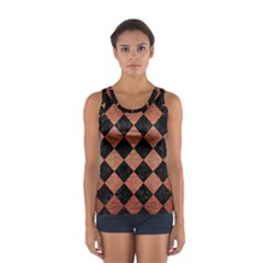 Square2 Black Marble & Copper Brushed Metal Sport Tank Top