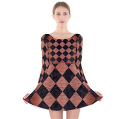 SQR2 BK MARBLE COPPER Long Sleeve Velvet Skater Dress