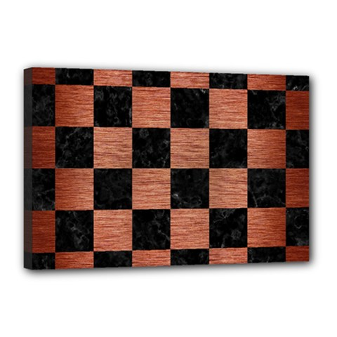 Square1 Black Marble & Copper Brushed Metal Canvas 18  X 12  (stretched)