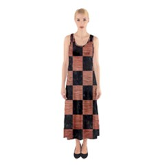 SQR1 BK MARBLE COPPER Full Print Maxi Dress