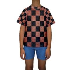 SQR1 BK MARBLE COPPER Kid s Short Sleeve Swimwear