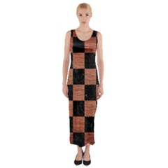 SQR1 BK MARBLE COPPER Fitted Maxi Dress
