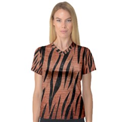Skin3 Black Marble & Copper Brushed Metal (r) V Neck Sport Mesh Tee