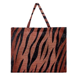 SKN3 BK MARBLE COPPER (R) Zipper Large Tote Bag