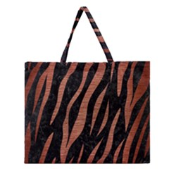 SKN3 BK MARBLE COPPER Zipper Large Tote Bag